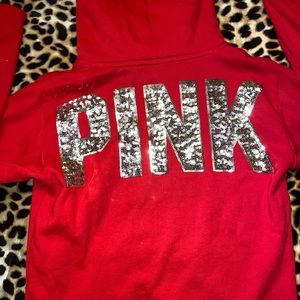 Red Victoria secret pink Sherpa bling hoodie med